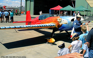 27 Nov 2005 - The late Tom Moon with his Extra 300S aerobatic plane at the Aviation Museum airshow, Temora, NSW, Australia