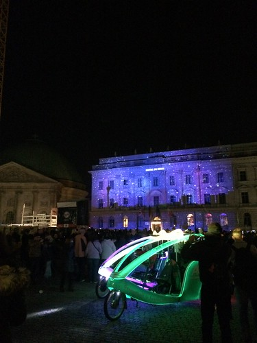 Berlin Festival of Lights 2015 Hotel de Rome and lit up bike taxi