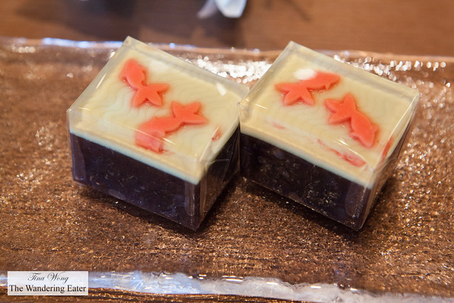 Yokan type wagashi - A red bean and gelatin based sweet with a goldfish pattern
