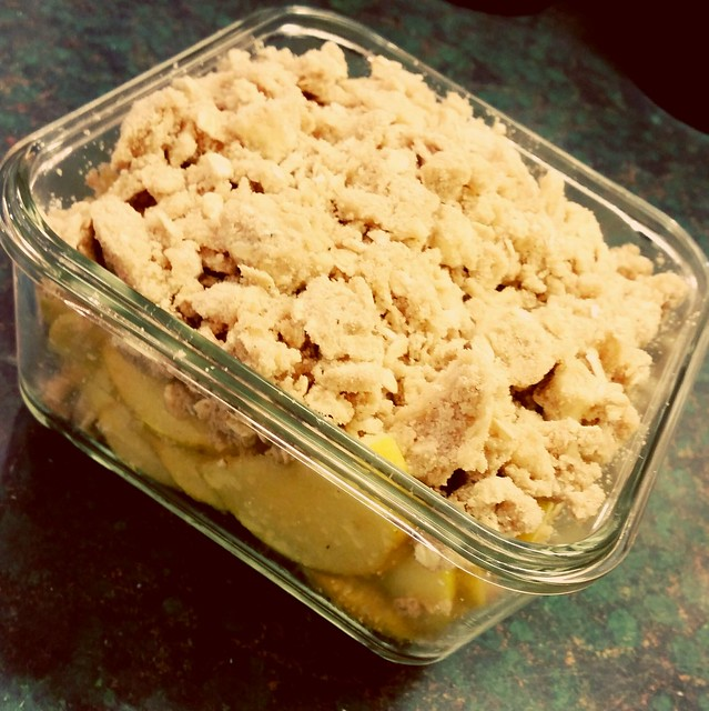 Apple crisp ready for the oven