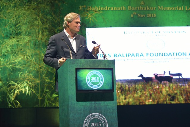 Professor Gunter Pauli, Author & Initiator of The BLUE ECONOMY, delivering the 3rd Rabindranath Barthakur Memorial Lecture at 2015 Balipara Foundation Awards