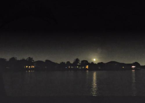 Christmas Moon over lake HDR 20151225