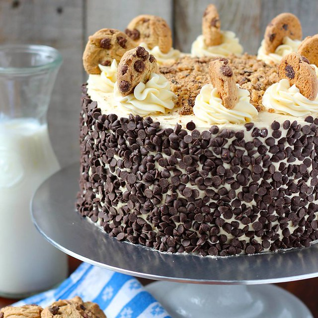 Cookie Dough Cake covered in chocolate chips by Your Cup of Cake