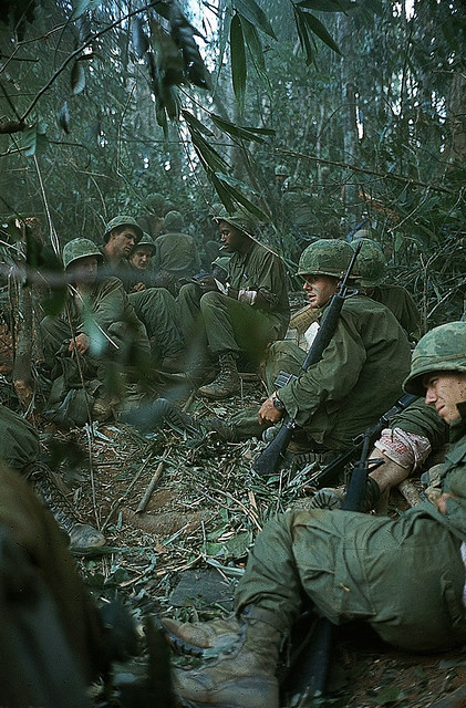 Dak To 1967 - Wounded soldiers on Hill 875 awaiting evacuation