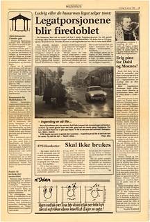 'Ludvigs eller De husarmes Legat selger tomt' / 'Evig pine for Dahl og Moxnes' / 'Kommunen får Møllebakken 39' (1985)