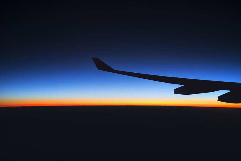Flying through the sunrise