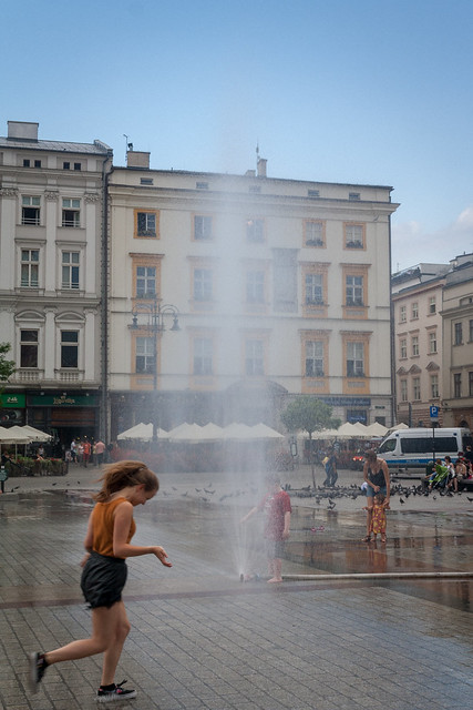 Fountains in the town square, Kraków