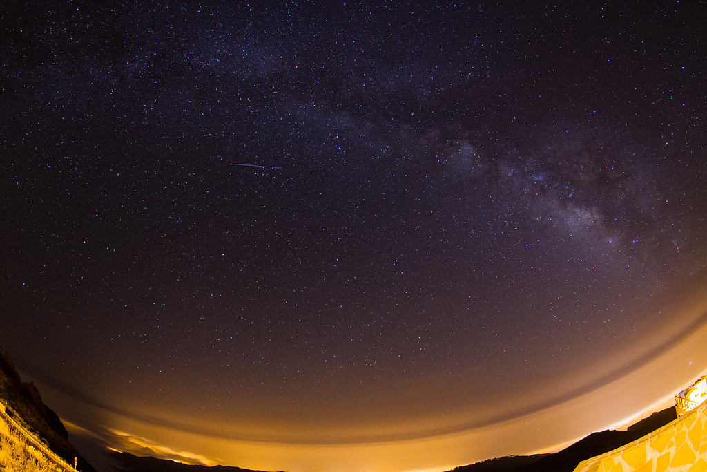 Milky-Way with the ISS passing by