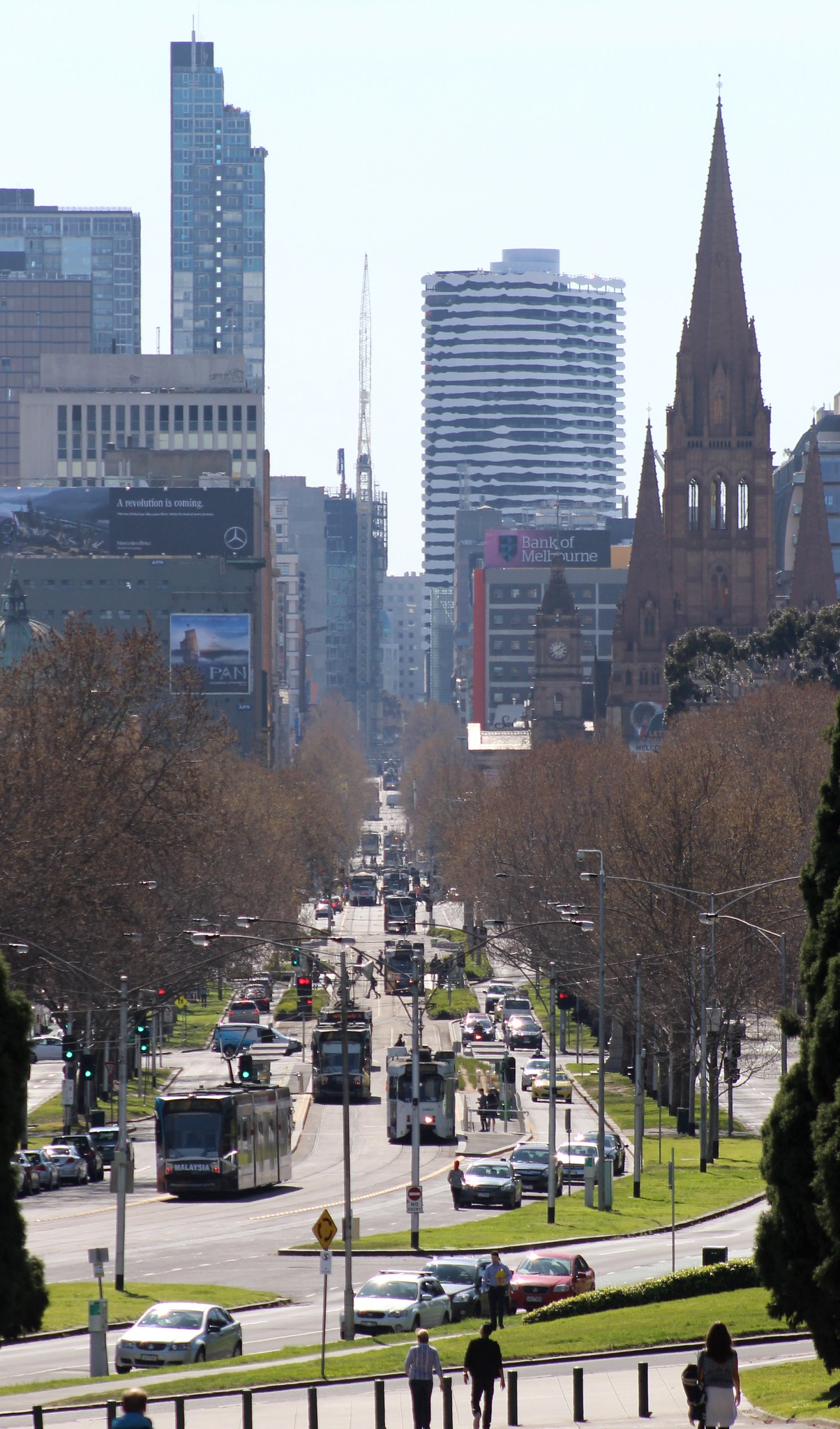 Swanston Street/St Kilda Road, looking north from the Shrine, Melbourne
