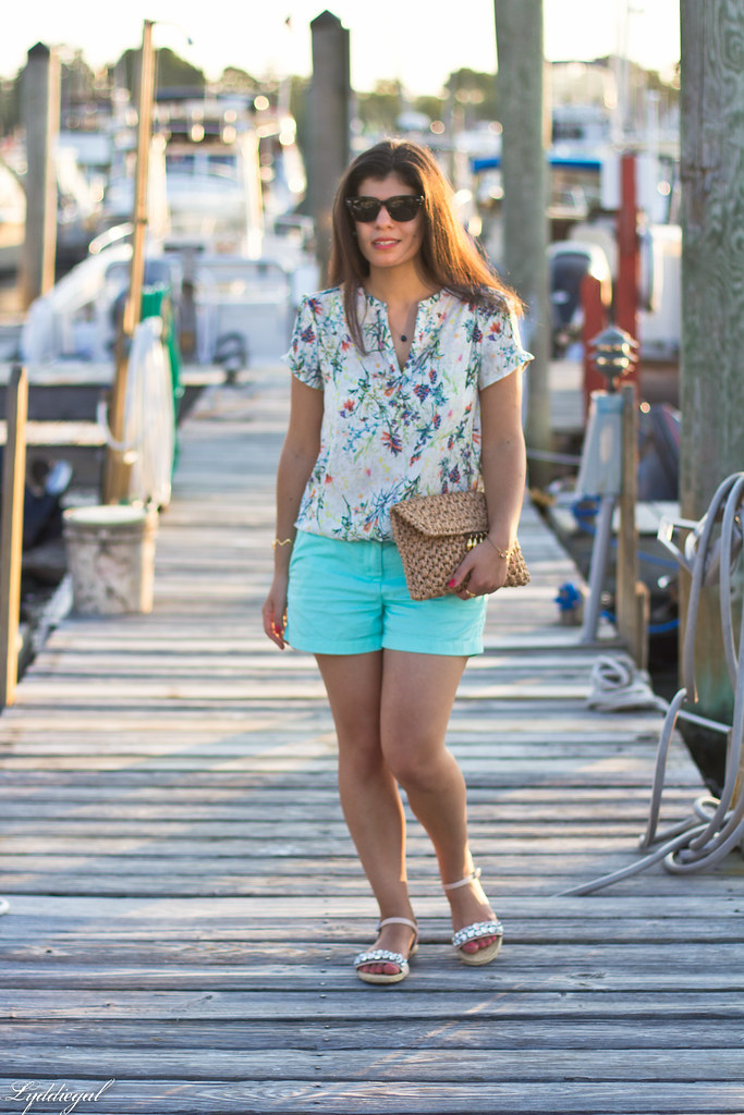 floral blouse, turquoise shorts, jeweled sandals.jpg