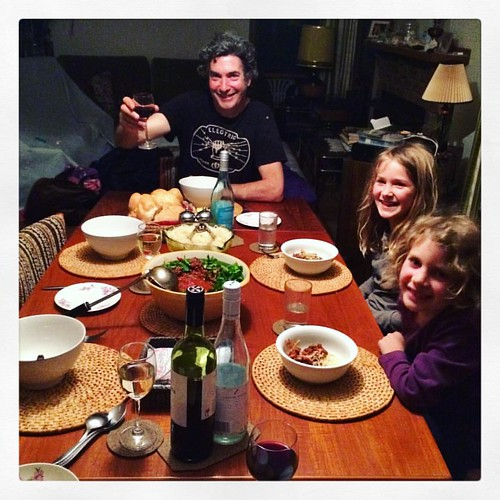 257/365 • last night's awesome dinner - cooked by #M and consumed by all at Binginwarri Manor • #257_2015 #family #food #Binginwarri #5yo #7yo #dinner #finedining #weekending #wine