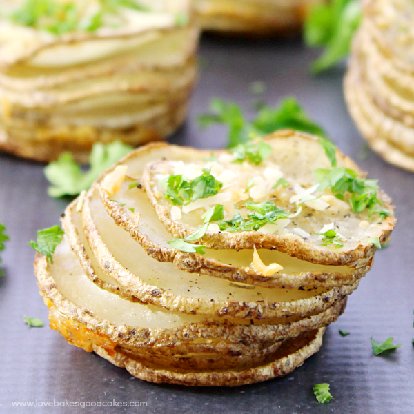 Make mealtime special with this Garlic Parmesan Parslied Potato Stacks recipe! #12bloggers