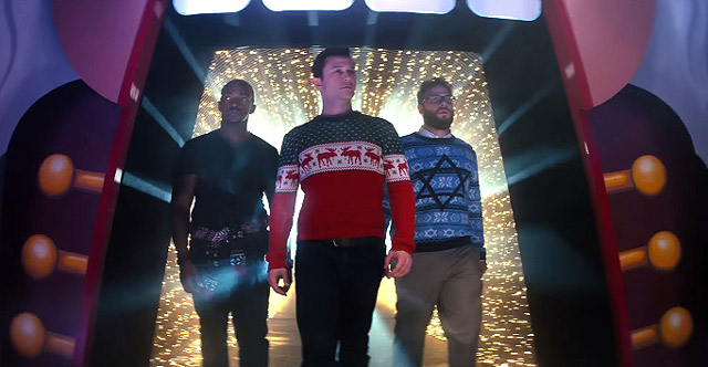 Anthony Mackie, Joseph Gordon-Levitt, and Seth Rogen rock the Christmas sweaters in the occasionally-rocking NIGHT BEFORE.