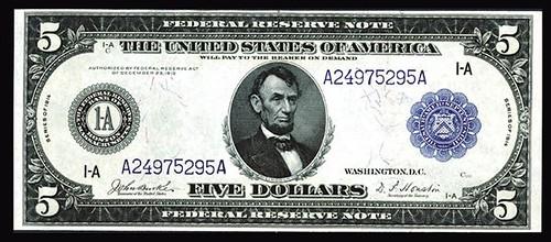 Boston, $5, 1914 Face