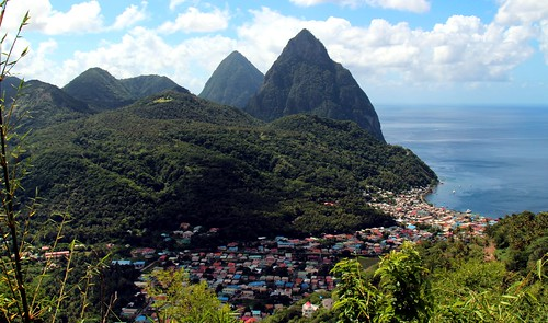 ocean city cruise blue sky mountain st skyline port island ship view royal twin sunny icon panoramic line adventure international lucia piton caribbean peaks iconic stlucia seas overview rcl aos rccl adventureoftheseas pitons castries soufriere konomark