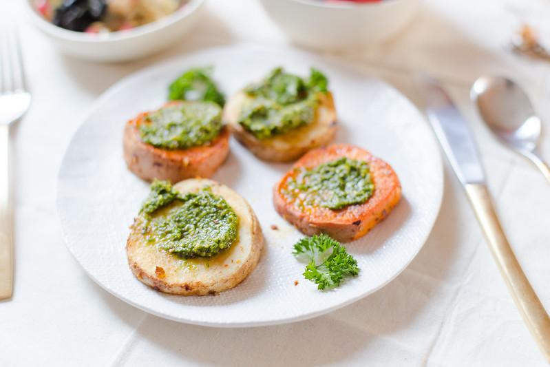 Roasted Potatoes, Pesto and Sautéed Vegetables