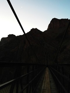 Sunrise crossing of the Colorado River on the 46-mile R2R2R run in the Grand Canyon