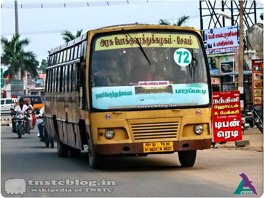 TN-30N-0621 of Erumapalayam 2 Depot 72 Salem City Bus stand - Parappatti.