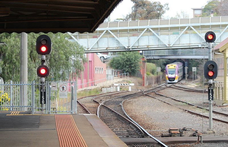 Melbourne-bound train approaches Geelong station