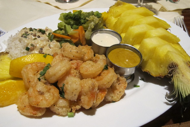 """Shrimp Boat"" fried shrimp with rice, veggies and pineapple"