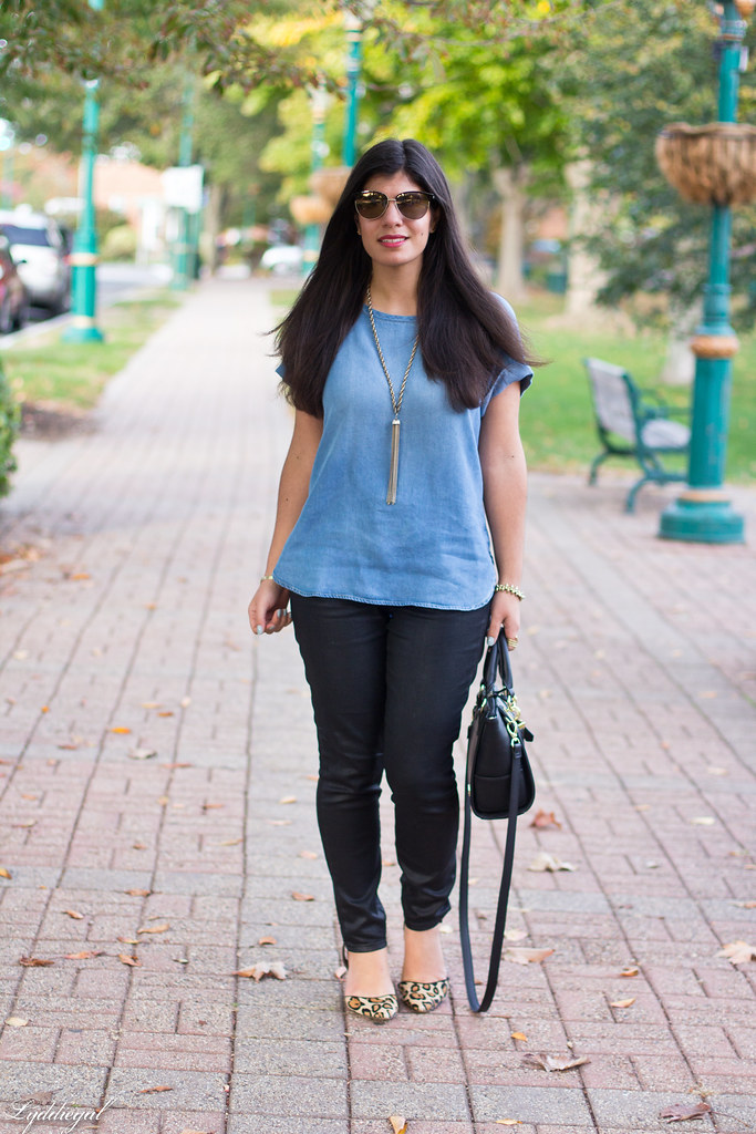 chambray tee, black coated jeans, leopard pumps.jpg