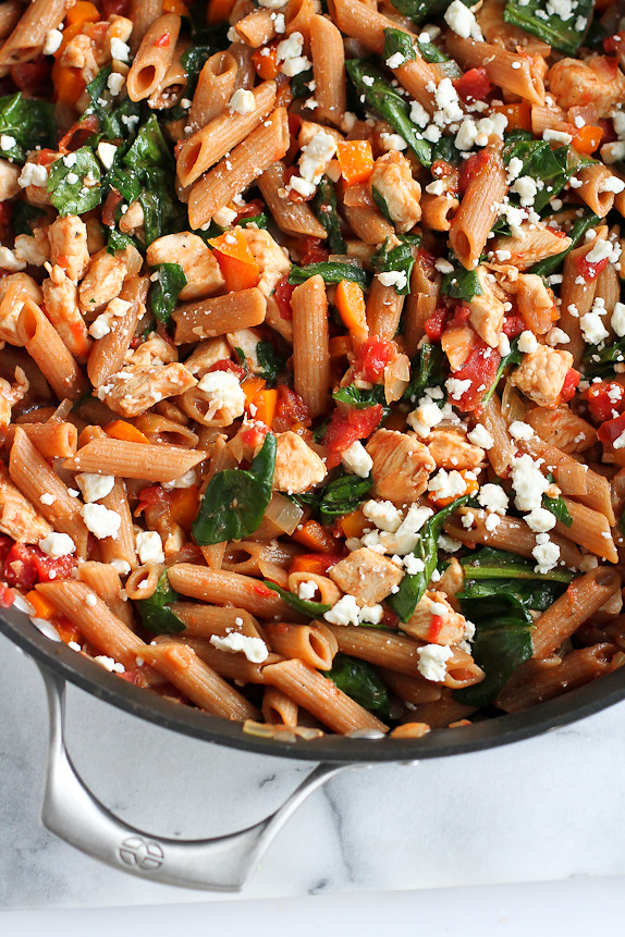 one pot whole wheat pasta recipe with chicken spinach
