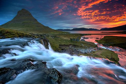 sunrise island dawn waterfall iceland arctic kirkjufell islanda icelande snaefells vesturland
