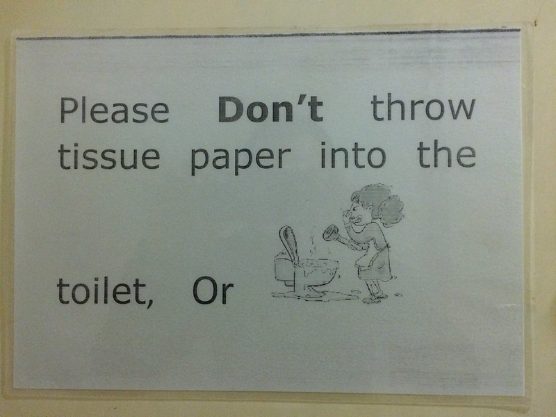 Sign in bathroom in the dorm in Beijing.