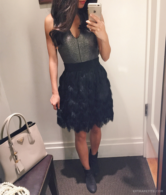 banana republic holiday outfit - petite feather skirt