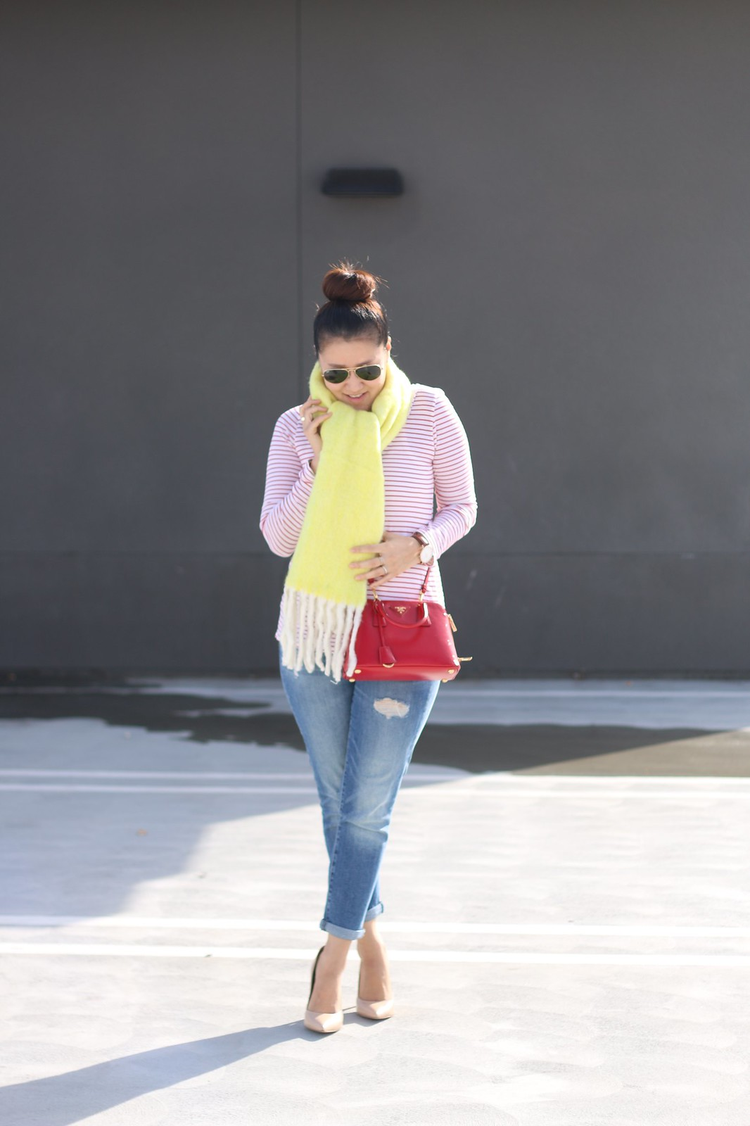 simplyxclassic, stripes, anthropologie, mittens, casual, chic, blogger, fashion, lifestyle, blog, mommy, orange county, prada bag, how to wear stripes, fall, winter, gap jeans, style, yellow scarf, daniel wellington
