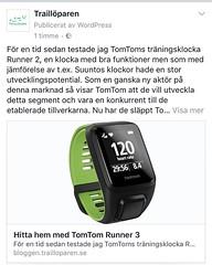 TomTom Runner 3 testad                                        http://bloggen.trailloparen.se/hitta-hem-med-tomtom-runner-3/