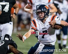 Brandeis' Corbett Mason (7) gain some yardage during the first round of the Region IV 6A div II playoffs Brandeis Broncos vs Steele Knights. Knights win 42-21. #ok3sports #playoffs #nikonphotography #sportsphotography