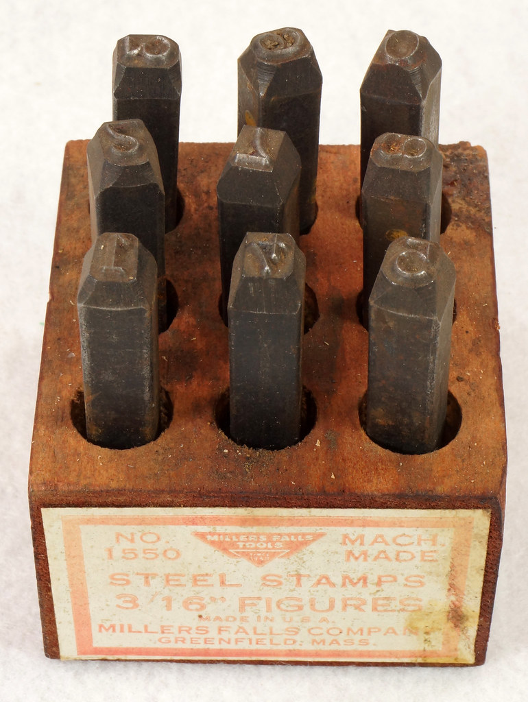 RD14695 Millers Falls 3-16th inch Figures Steel Number Punch Stamps Set No 1550 USA DSC06508