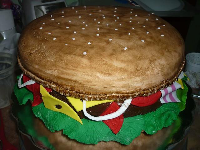 Giant Hamburger Cake by Mary E Perdomo