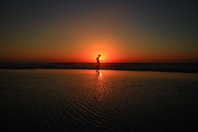Running at sunset - Tel-Aviv beach