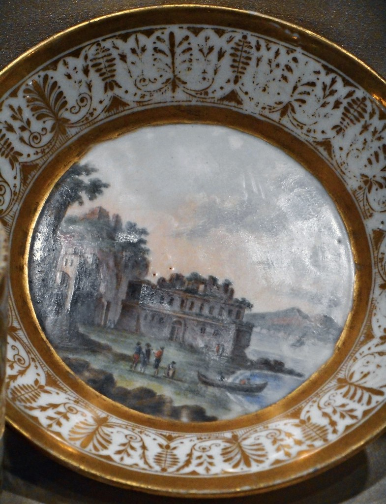 """""""View of Posillipo and Vesuvius"""" - porcelain, Poulard Prad / R. Giovine manufacture (1814) - Naples, San Martino Museum, now at exhibition on Joachim Murat at Royal Palace of Naples, up to October 18, 2015"""
