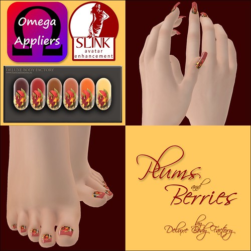 [DBF] Plums and berries - SLINK Omega nail appliers leaves