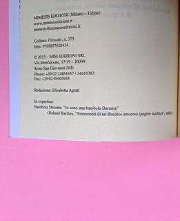 Roland Barthes, Il discorso amoroso. Mimesis 2015. Colophon, a pag. 4 (part.), 2