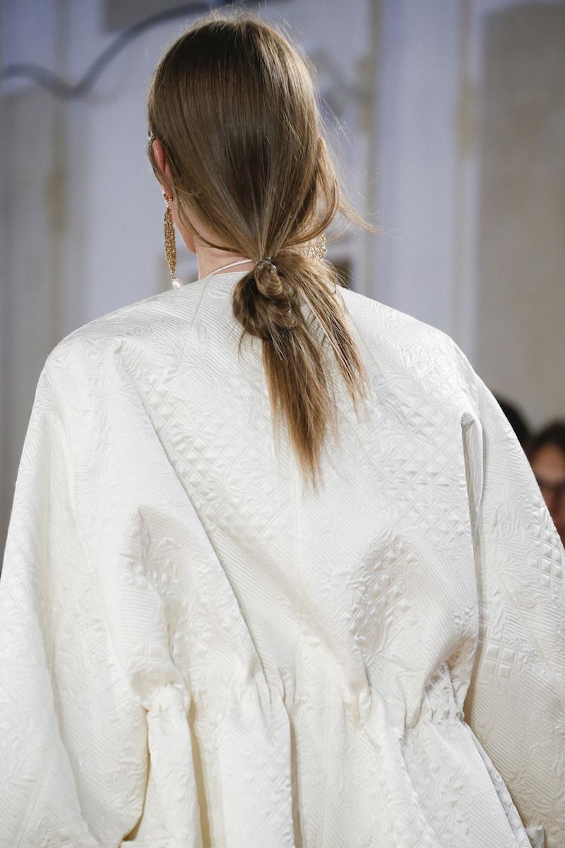 BALENCIAGA SS16 details ivory jacket low loose bun ponytail MODERN LEGACY