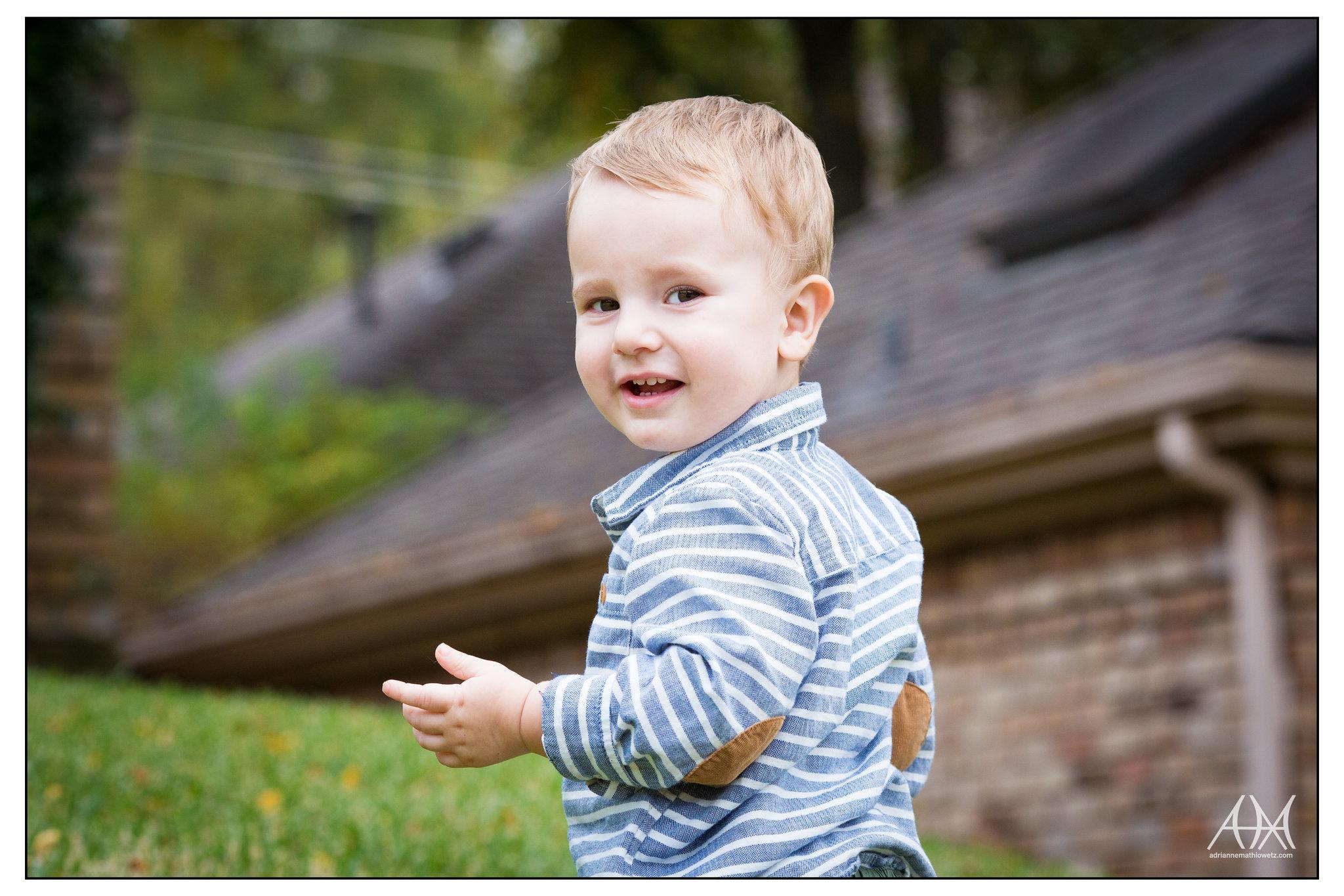 Henry on a walk - smile