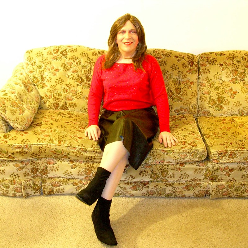 Red tunic sweater w/ pleather skirt