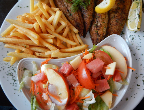 A dinner of hake, salad and chips at Castletownbere on the west coast of Ireland