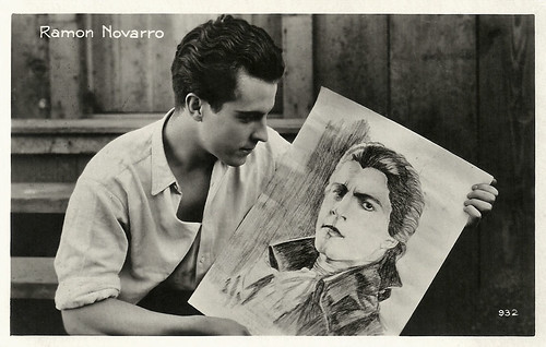 Ramon Novarro holding a sketch for Scaramouche