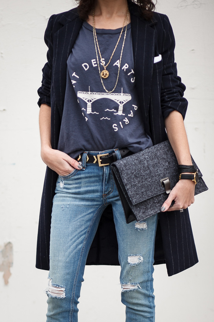 Zara pinstripe coat and Madewell Le Pont Des Arts graphic tee