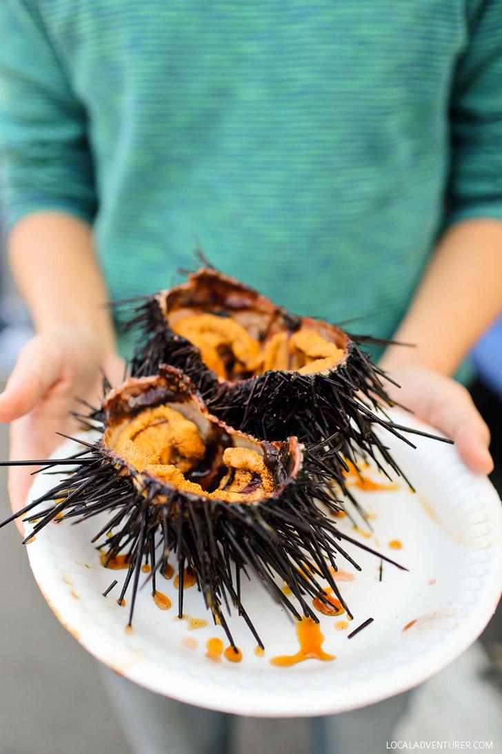 Poppa's Fresh Fish - Eating Fresh Sea Urchin at Hillcrest Farmers Market San Diego.