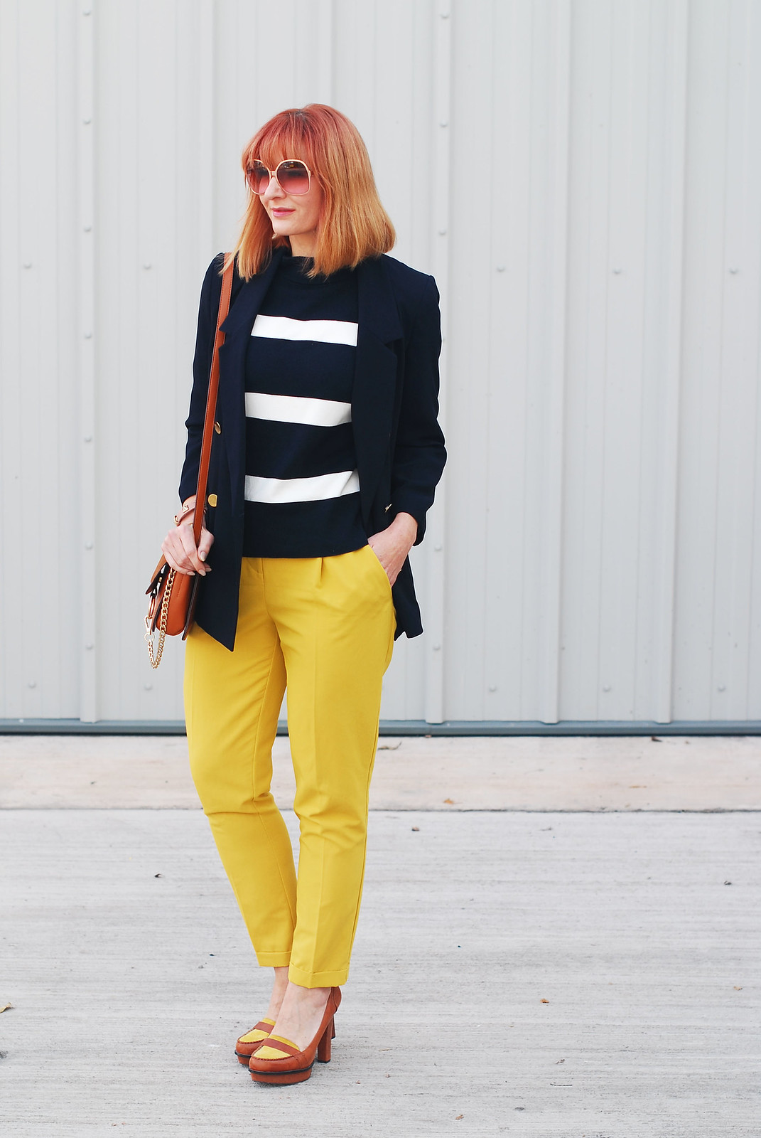 How to wear preppy style in autumn / fall: Navy and white striped sweater, mustard yellow pants, navy blazer, tan accessories | Not Dressed As Lamb, over 40 style