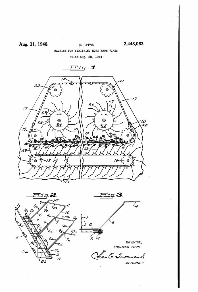 Patent No 2448063a Machine For Stripping Hops From Vines