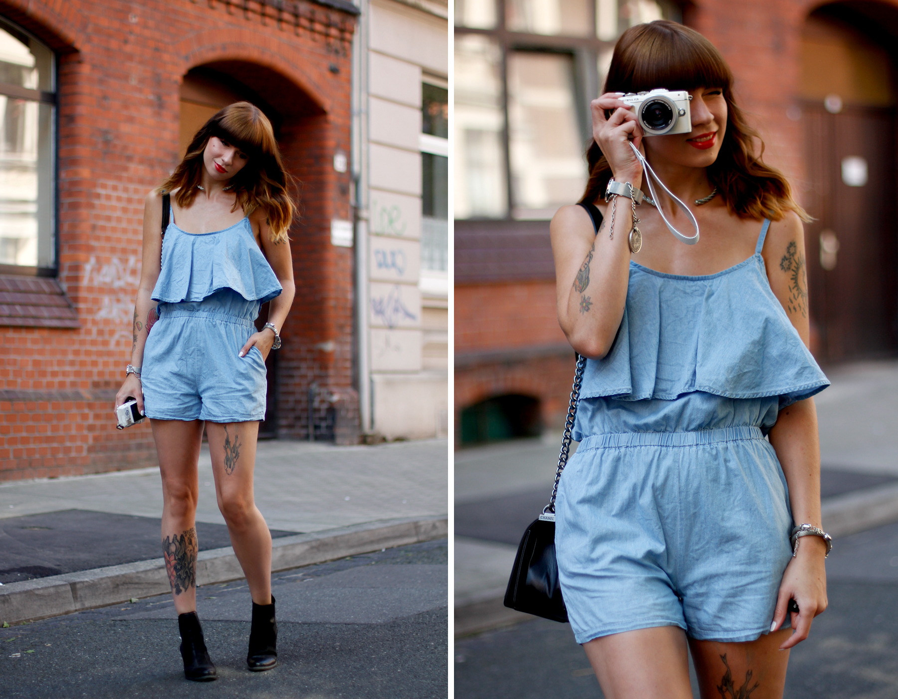 anziehend düsseldorf denim blue jumpsuit overall hellblau jeans chanel boots late summer spätsommer outfit ootd look cats & dogs ricarda schernus 5