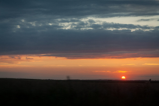 Sunset on the way home from Kraków