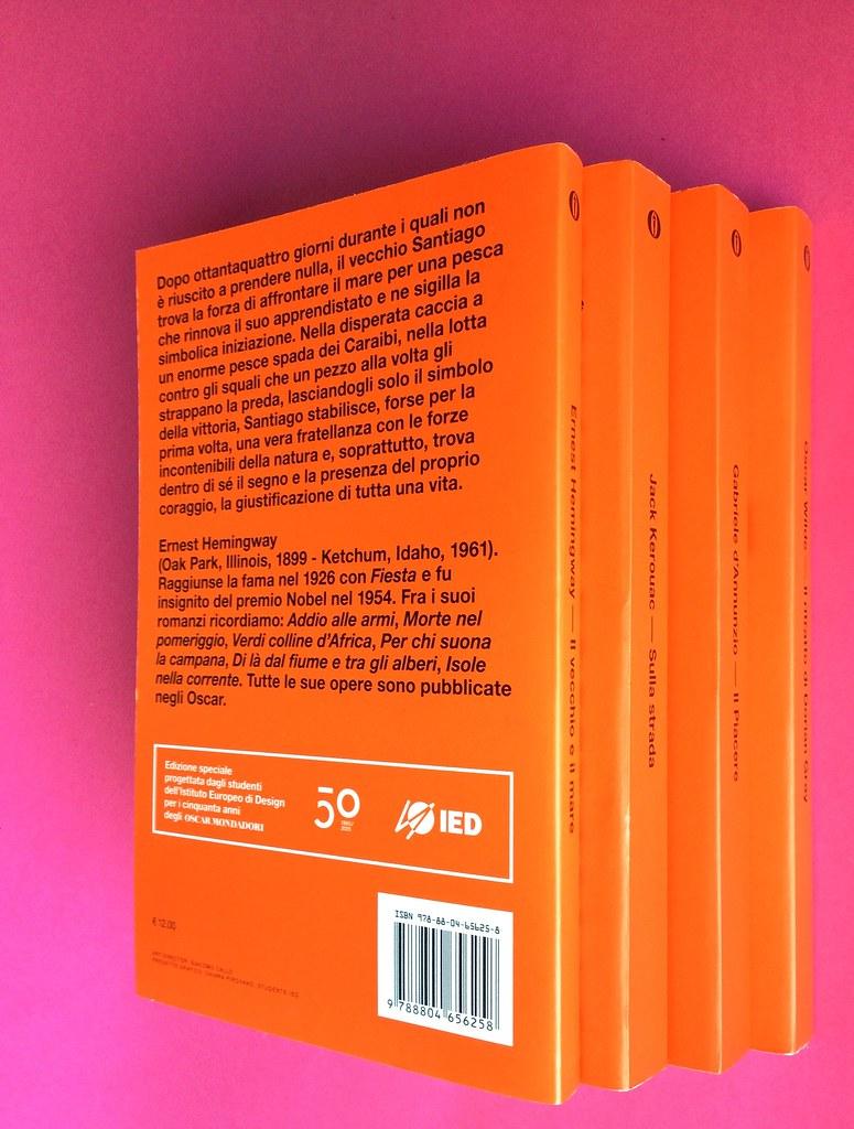 Oscar Mondadori / ied: edizione speciale di 10 titoli per i 50 anni degli Oscar. Art direction: Giacomo Callo. Quarta di copertina e dorsi di 4 titoli (part.) 1